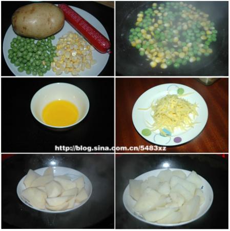 2.土豆去皮切块,上蒸锅蒸熟.   3.