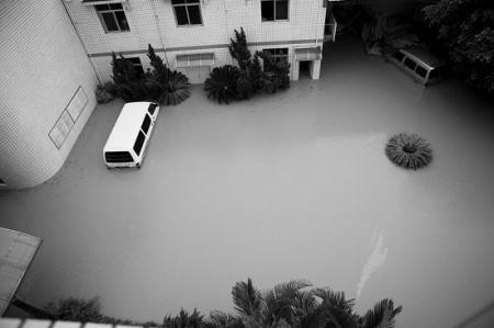 停在院子里的小车也被淹没
