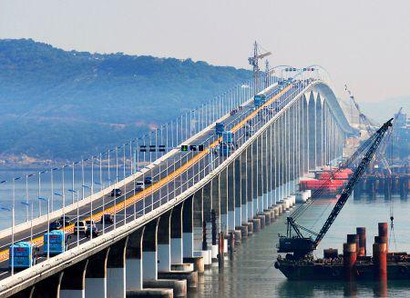 许多车辆第一时间上桥体验 新华社/图