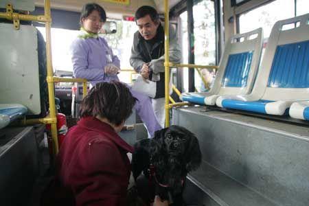 女乘客醒来后,坐在车内的地板上听医护人员和公交司机讲述她发病的经过,而小狗仍守在一旁