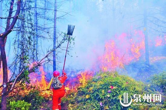灭火队员一次次冲向烧得正旺的山火