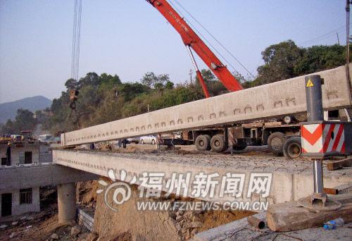 甘洪路三号桥吊装梁