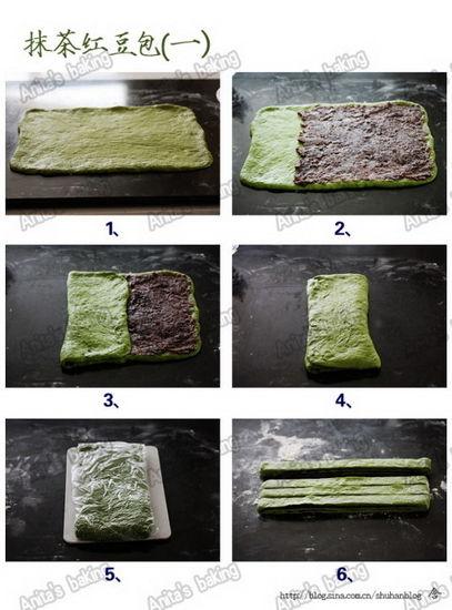 怎么做,如何做,图解详细步骤; 抹茶红豆包:很有意思的面包造型(3)