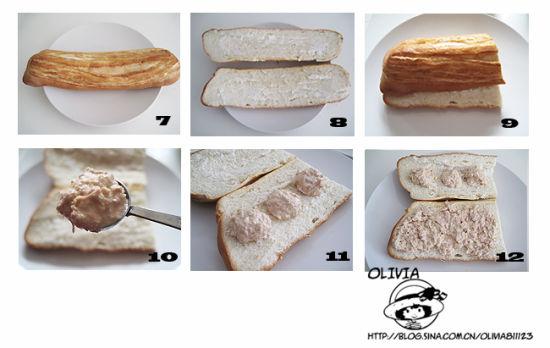 13、取一片芝士,夹在面包中央。   14、撒适量生菜丝。   15、放入西红柿片、洋葱圈。   16、再放适量黄瓜片、青椒丝。   17、挤适量蛋黄酱或千岛酱。   18、把两片面包合起来装盘即可。   小贴士:   1、如果你喜欢,可以再添一两片培根,或者再多来片奶酪,味道更加丰富,这款三明治个人推荐搭配蛋黄酱或千岛酱。   2、面包可选择自己喜欢的口味,白面包、全麦、燕麦   3、法式三明治往往已不用面包片,而是改用面包卷或面卷替代。以法国长棍制成的三明治被称为潜艇包。 5分钟打造金枪鱼三明治潜