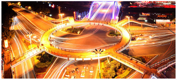 龙岩中山街:街心天桥魅力夜景