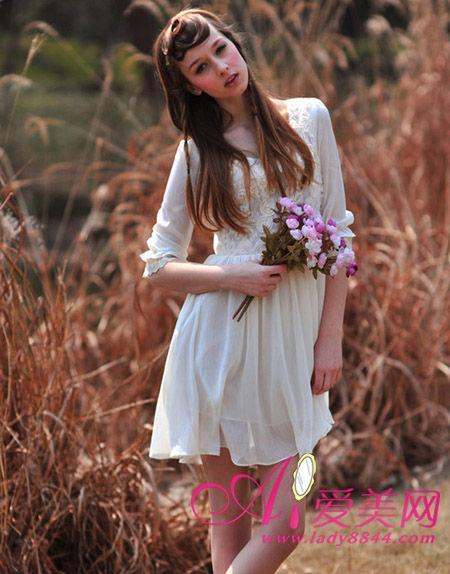 立体玫瑰花连衣裙