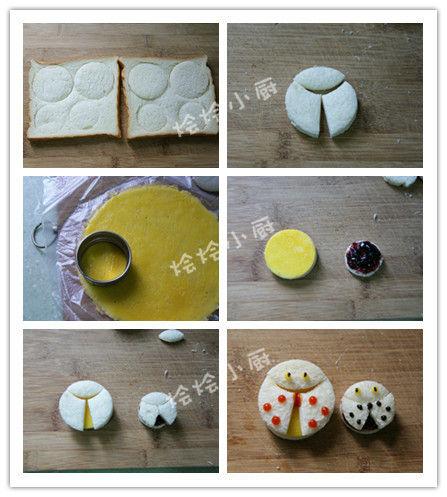 可爱动物造型早餐 七星瓢虫三明治
