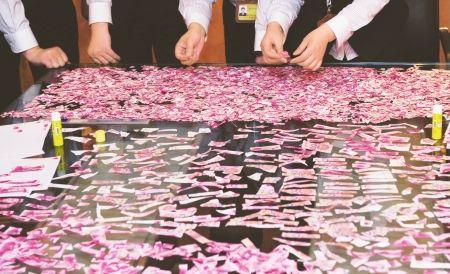 5月3日,中国银行四川省分行工作人员正在整理林兆强带来的5万元残币,试图还原这些现金。