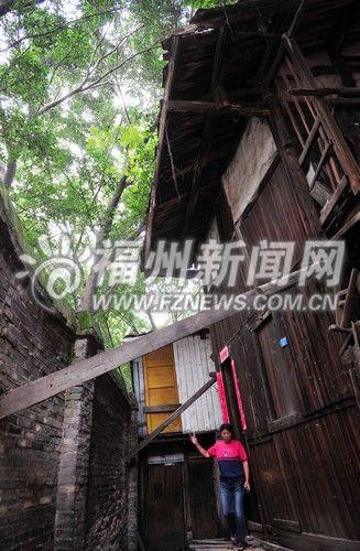 福州房屋被树压成楼歪歪 户主提心吊胆全家搬迁