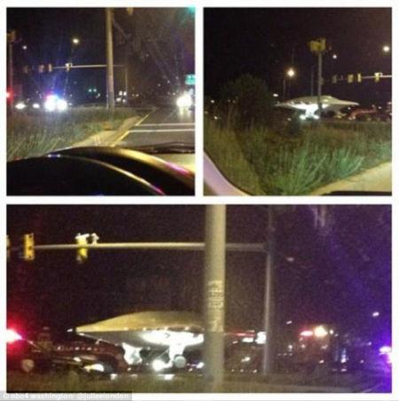 美国高速公路现疑似UFO被空军运走(组图)