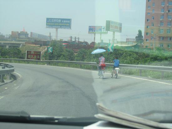 高速路现单手骑自行车