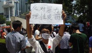 """少年高举""""反对暴力,理性爱国""""的牌子"""