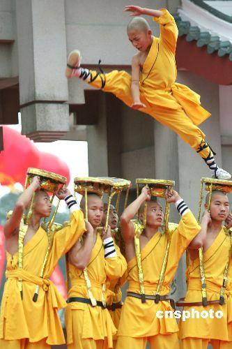 南北少林武僧表演 (图片来源于网络)
