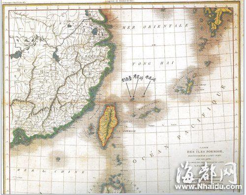 1809年,法国地理学家绘制的《东中国海沿岸各国图》,也将钓鱼岛列入中国版图