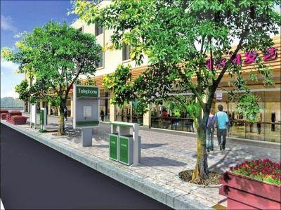 改造后城市家具组团形式摆放效果图
