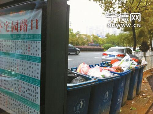 每个垃圾桶都装得满满当当。