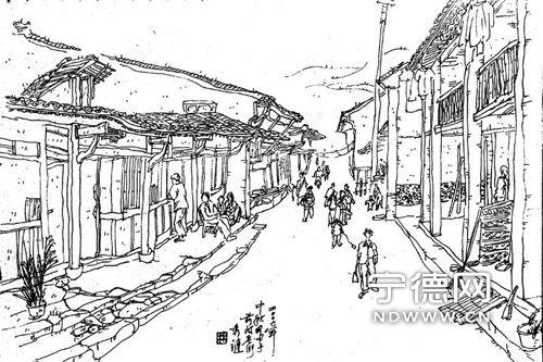 古镇风景速写临摹图片-画笔之下的闽东乌镇 前岐