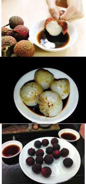 荔枝、杨梅蘸酱油(网友供图)