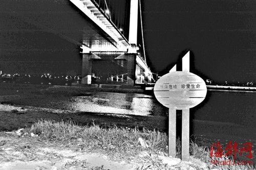江边设有水深危险的警示牌