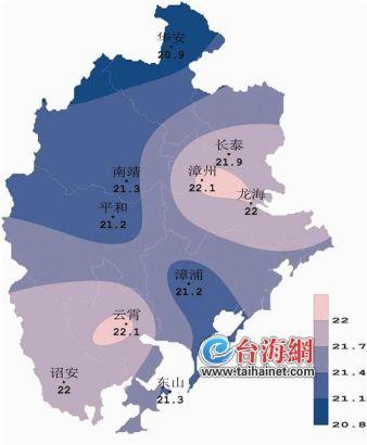 3年漳州市平均气温分布图-漳州发布今年气候预测 五六个台风将影响