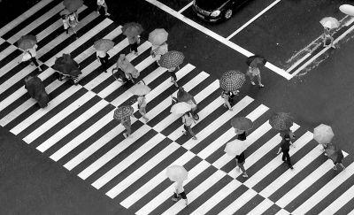 6月16日,东街,市民撑雨伞过马路 东快记者刘兴/摄