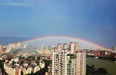 """福州昨现双彩虹 市民:七夕将至 这是""""鹊桥"""""""