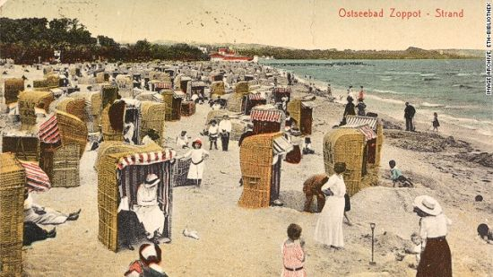 """ostseebad zoppot""(波兰):这个上流社会的海滩描绘了格丹斯克(波兰)附近的一处旅游胜地(1923)"