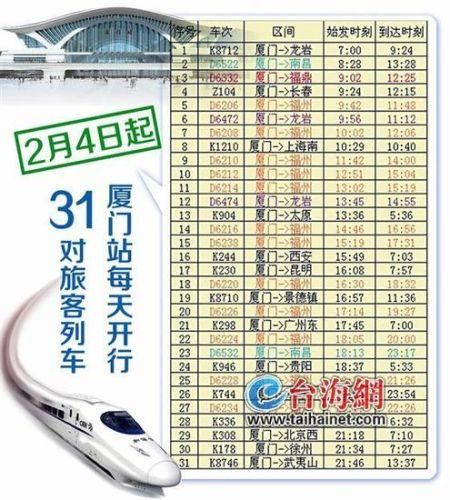 厦门火车站2月4日启用 列车时刻表正式出炉