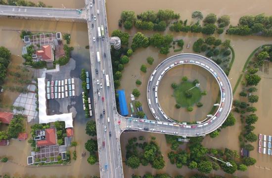 长沙橘子洲大桥从被洪水淹没的橘子洲景区上穿过。
