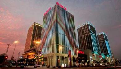 福州最大的楼面外墙夜景灯,可以变幻出不同图案