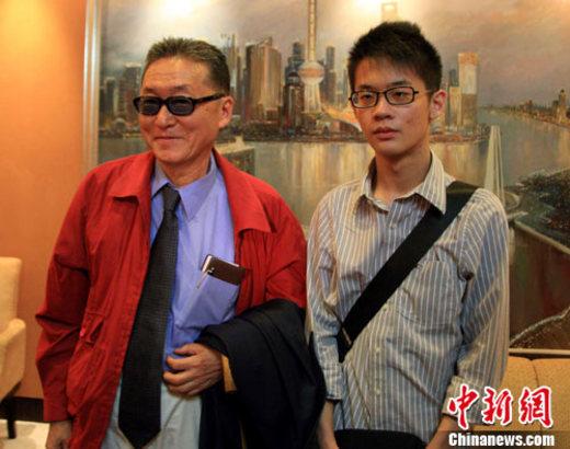 资料图:李敖、李戡父子。中新社记者 潘索菲 摄