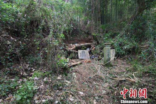 图为古墓被盗现场。 雷谢清 摄
