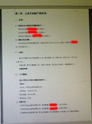 网曝王石离婚协议书 10处房产7处归女方(图)图片