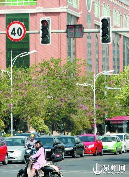 田安路与丰泽街交叉路口,超过90秒的红灯。