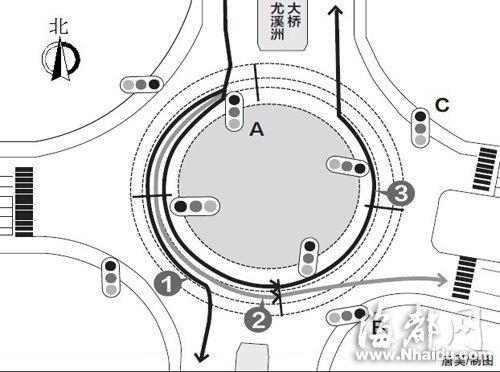 福州首个大环岛信号灯